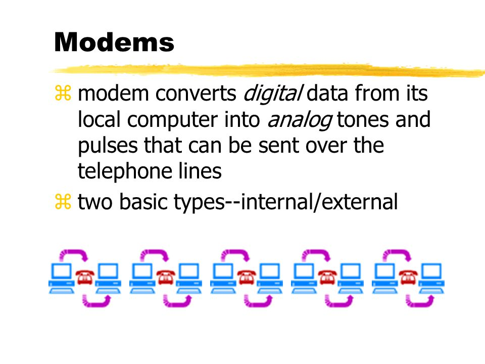 Modems zmodem converts digital data from its local computer into analog tones and pulses that can be sent over the telephone lines ztwo basic types--internal/external