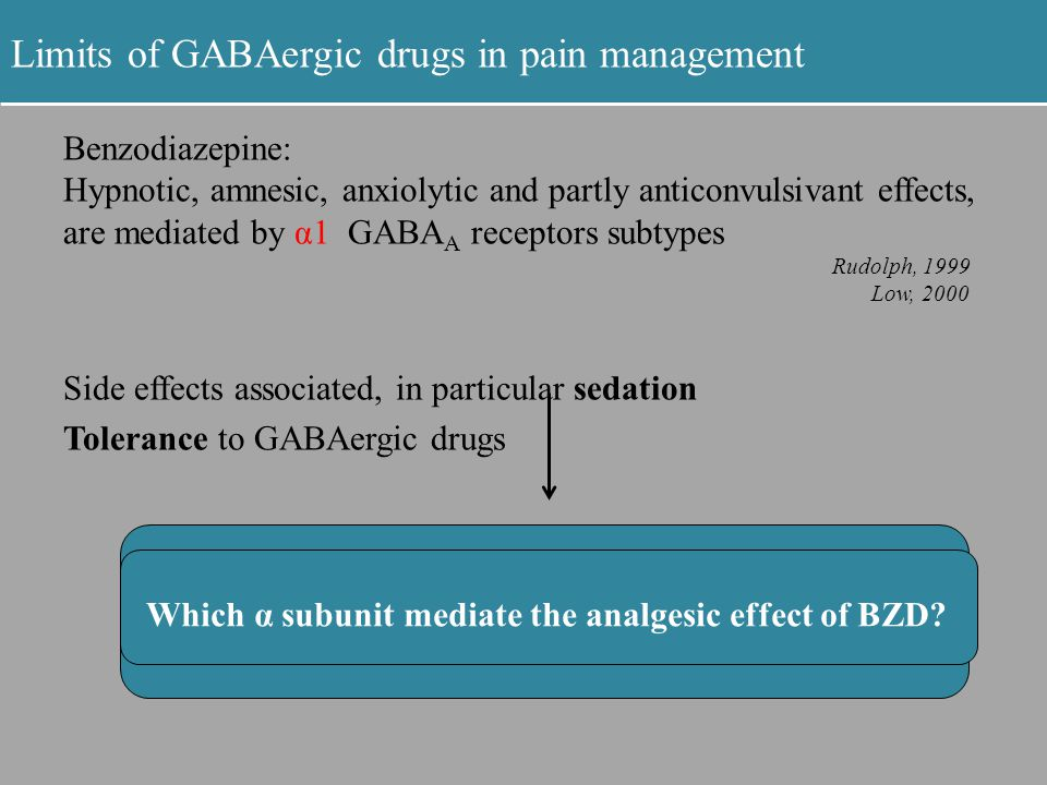 Limits of GABAergic drugs in pain management Benzodiazepine: Hypnotic, amnesic, anxiolytic and partly anticonvulsivant effects, are mediated by α1 GAB