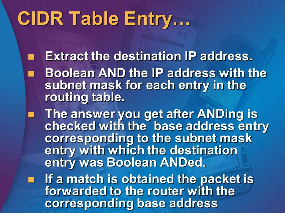 CIDR Table Entry… Extract the destination IP address.