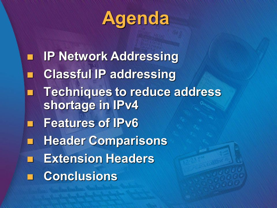Features of IPv6 Larger Address Space Aggregation-based address hierarchy – Efficient backbone routing Efficient and Extensible IP datagram Stateless Address Autoconfiguration Security (IPsec mandatory) Mobility