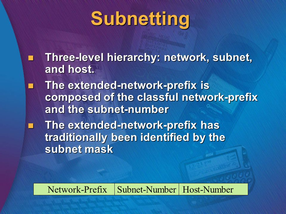 Subnetting Three-level hierarchy: network, subnet, and host.
