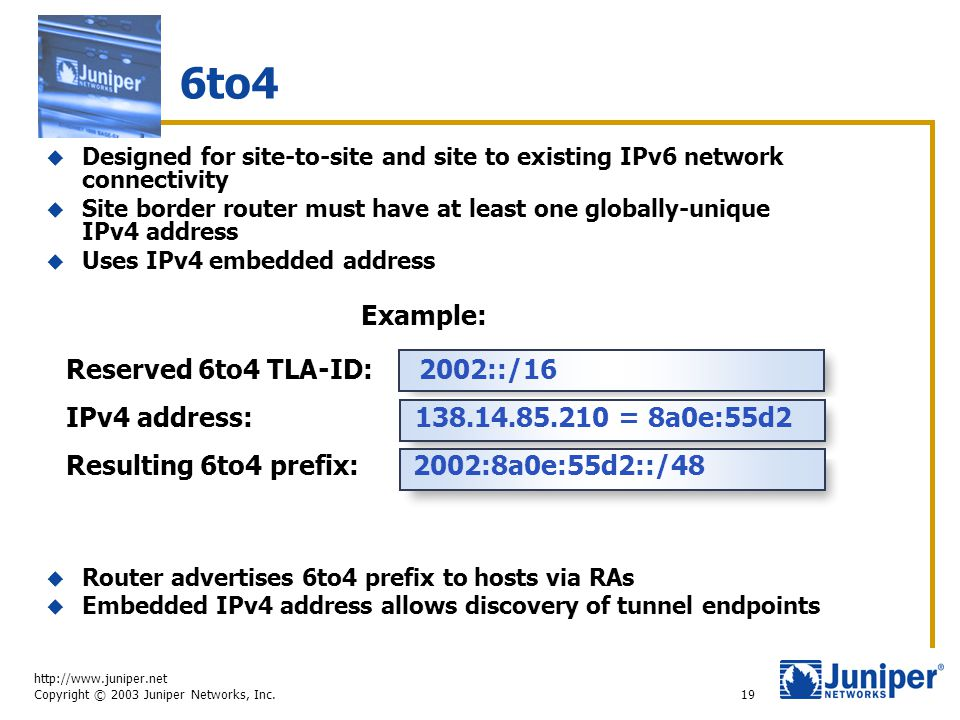http://www.juniper.net Copyright © 2003 Juniper Networks, Inc. 19 6to4  Designed for site-to-site and site to existing IPv6 network connectivity  Si