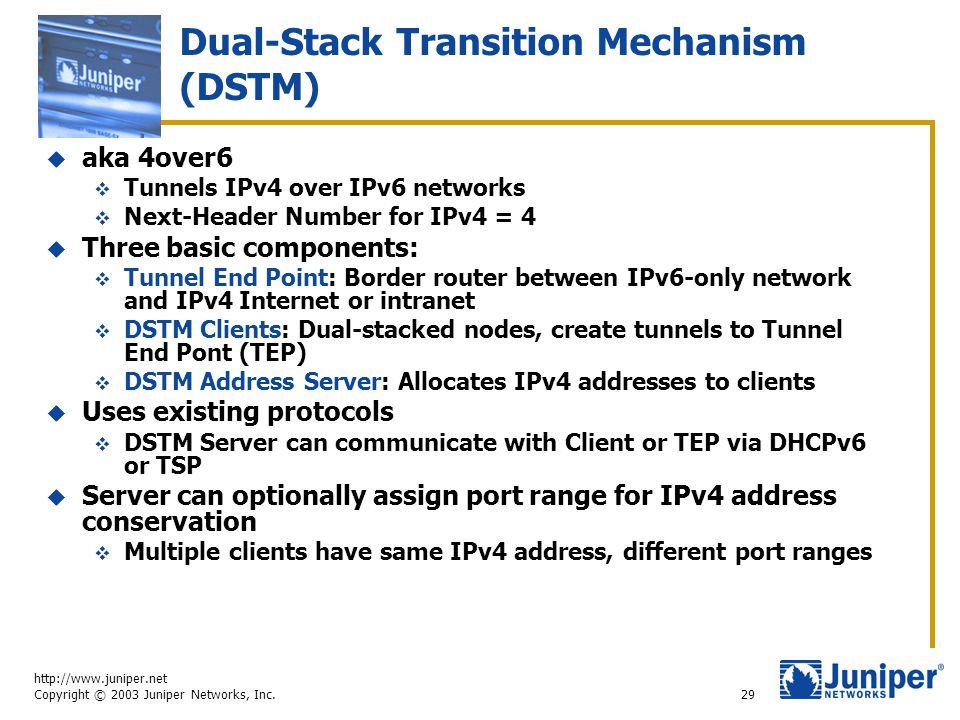 http://www.juniper.net Copyright © 2003 Juniper Networks, Inc. 29 Dual-Stack Transition Mechanism (DSTM)  aka 4over6  Tunnels IPv4 over IPv6 network