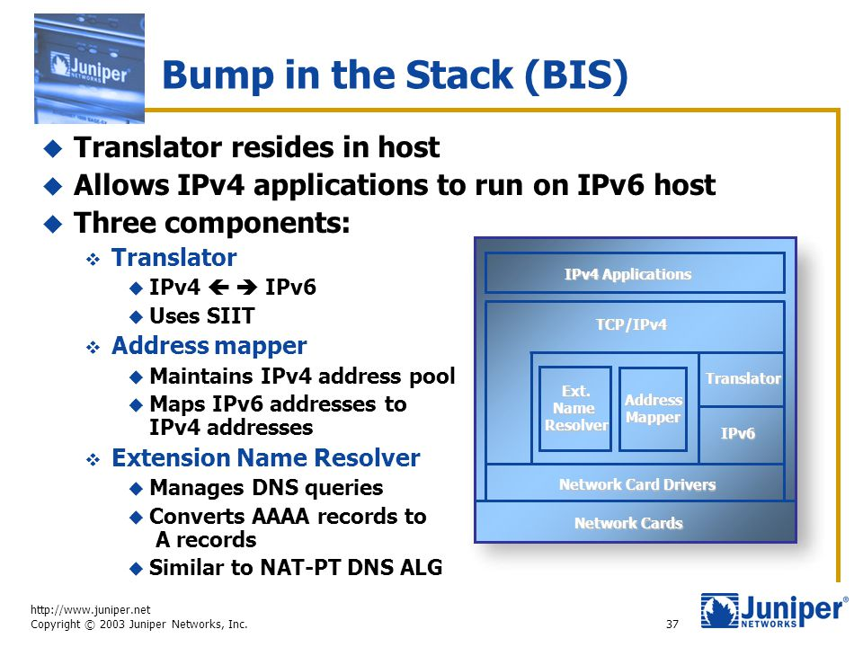 http://www.juniper.net Copyright © 2003 Juniper Networks, Inc. 37 Bump in the Stack (BIS)  Translator resides in host  Allows IPv4 applications to r