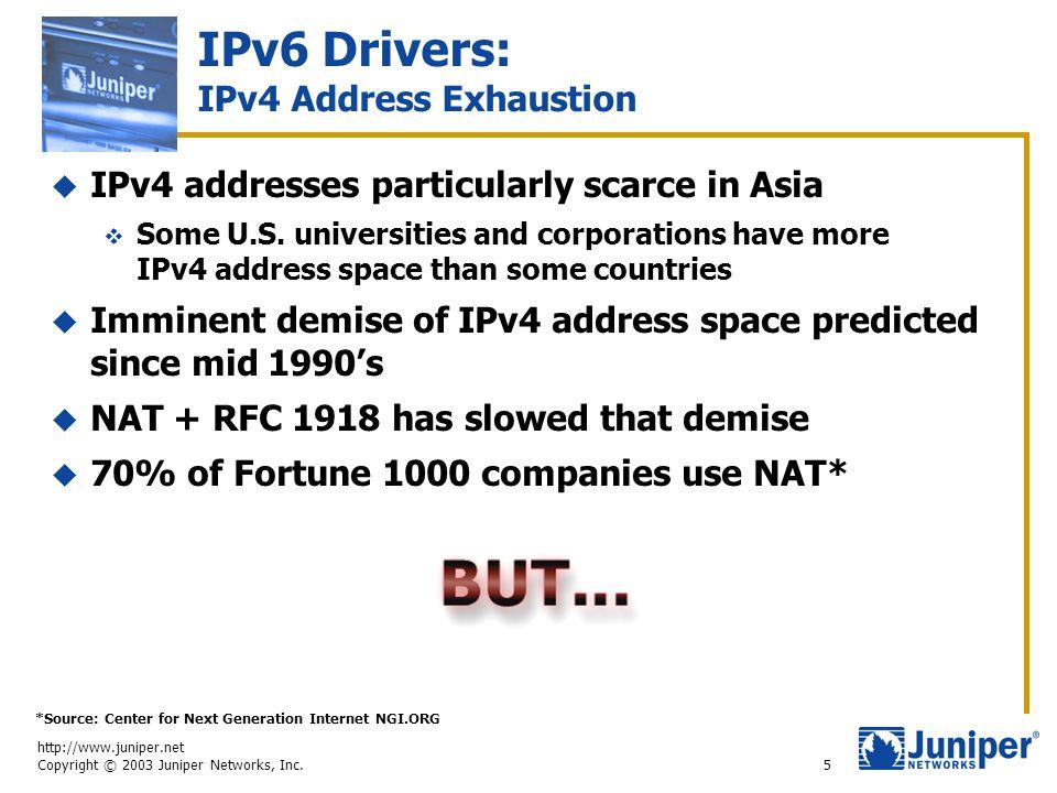 http://www.juniper.net Copyright © 2003 Juniper Networks, Inc. 5 IPv6 Drivers: IPv4 Address Exhaustion  IPv4 addresses particularly scarce in Asia 