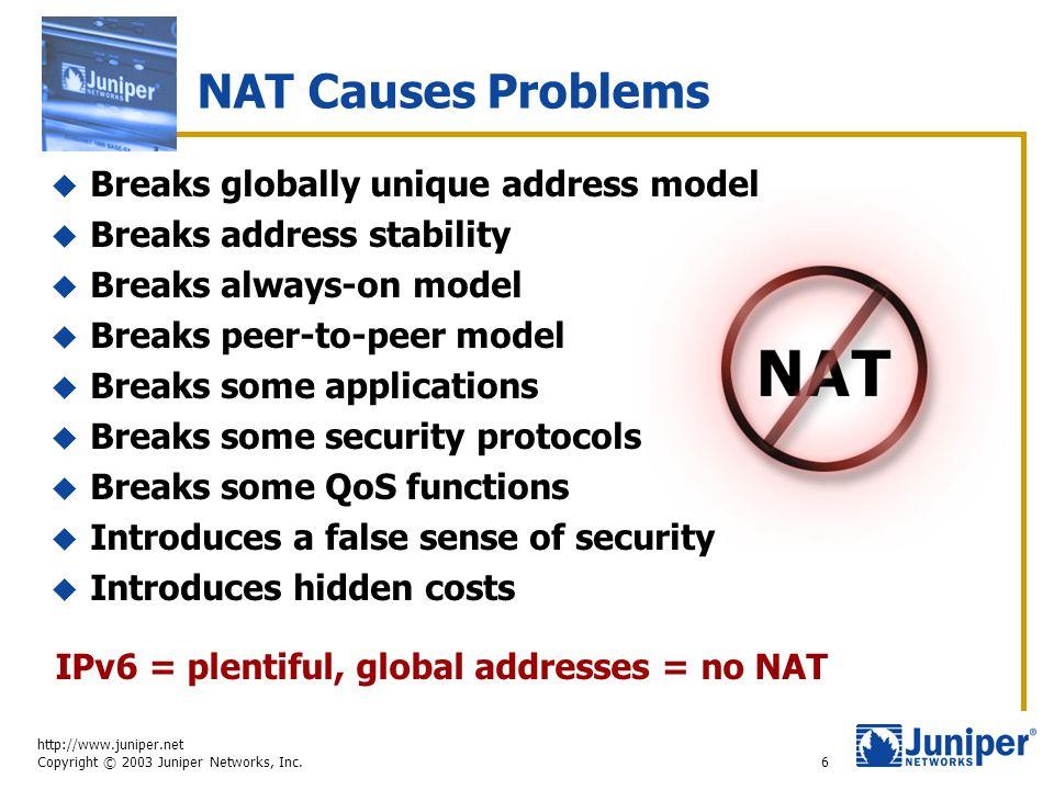 http://www.juniper.net Copyright © 2003 Juniper Networks, Inc. 6 NAT Causes Problems  Breaks globally unique address model  Breaks address stability