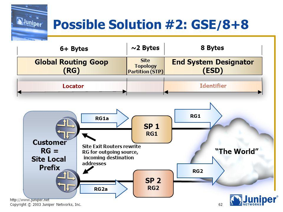 http://www.juniper.net Copyright © 2003 Juniper Networks, Inc. 62 Possible Solution #2: GSE / 8+8 End System Designator (ESD) Global Routing Goop (RG)