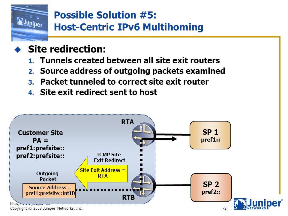 http://www.juniper.net Copyright © 2003 Juniper Networks, Inc. 72 Possible Solution #5: Host-Centric IPv6 Multihoming  Site redirection: 1. Tunnels c