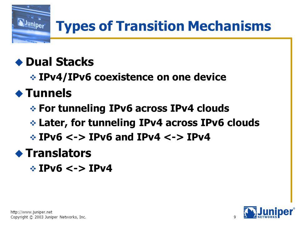 http://www.juniper.net Copyright © 2003 Juniper Networks, Inc. 9 Types of Transition Mechanisms  Dual Stacks  IPv4/IPv6 coexistence on one device 