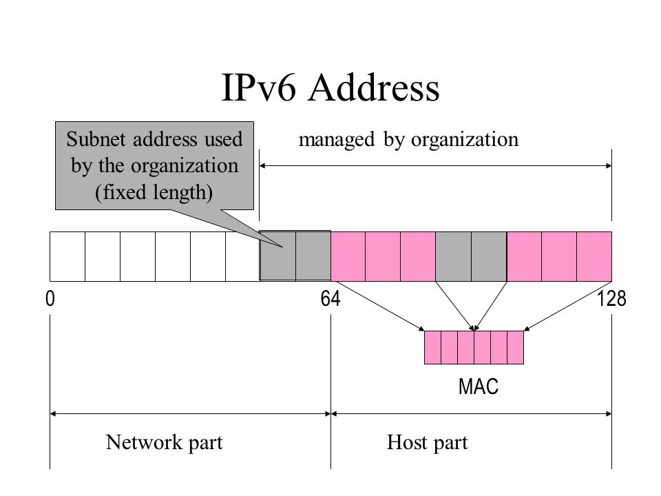 IPv6 Address Network partHost part managed by organization 012864 MAC Subnet address used by the organization (fixed length)