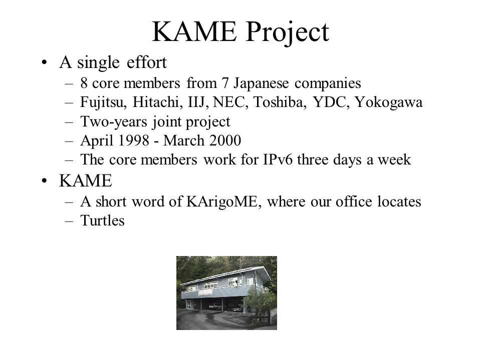A single effort –8 core members from 7 Japanese companies –Fujitsu, Hitachi, IIJ, NEC, Toshiba, YDC, Yokogawa –Two-years joint project –April 1998 - March 2000 –The core members work for IPv6 three days a week KAME –A short word of KArigoME, where our office locates –Turtles