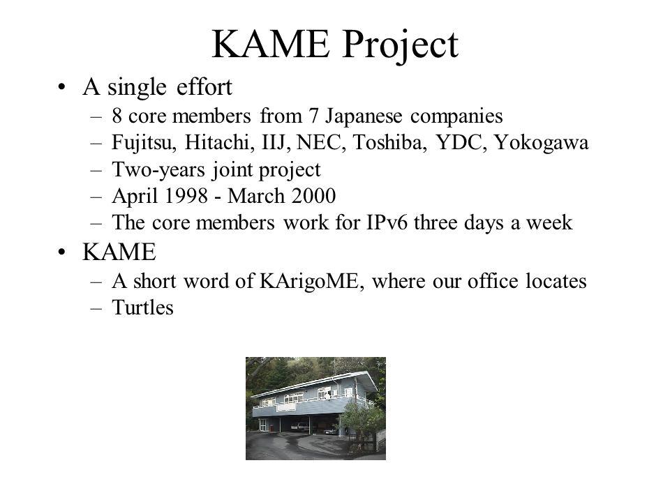 A single effort –8 core members from 7 Japanese companies –Fujitsu, Hitachi, IIJ, NEC, Toshiba, YDC, Yokogawa –Two-years joint project –April 1998 - M