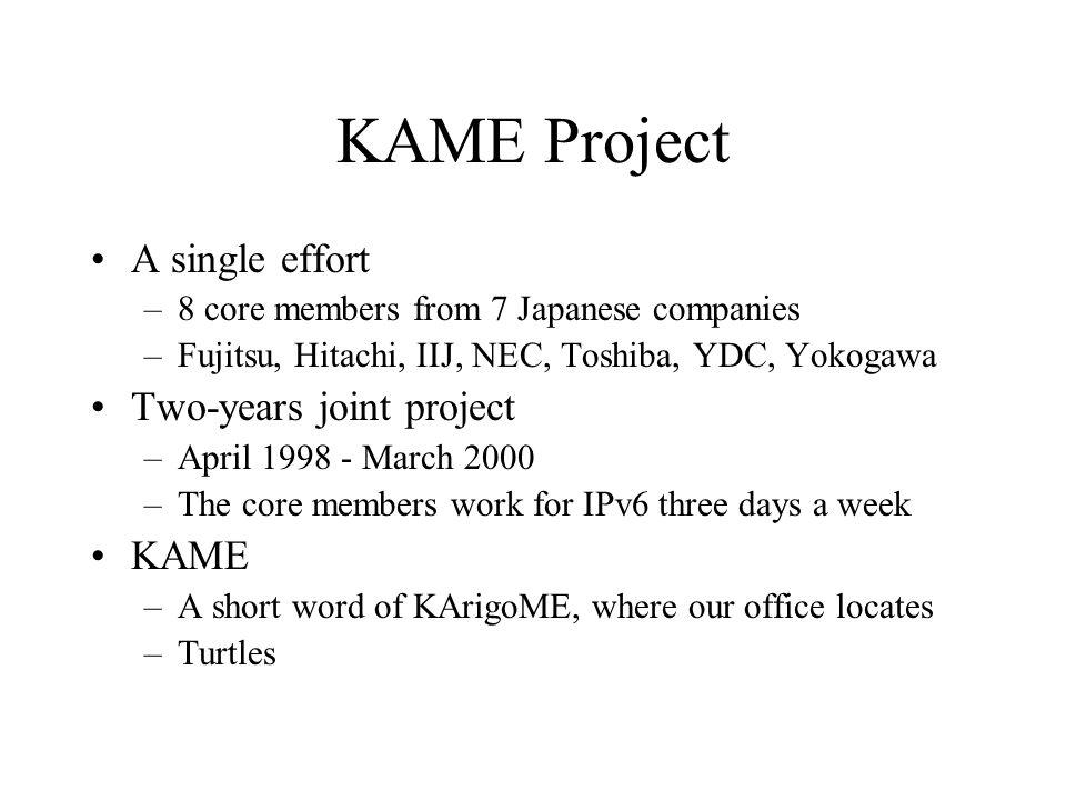 KAME Project A single effort –8 core members from 7 Japanese companies –Fujitsu, Hitachi, IIJ, NEC, Toshiba, YDC, Yokogawa Two-years joint project –Ap