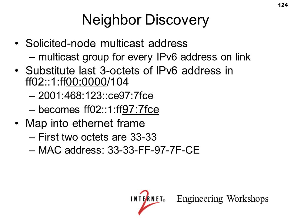 Engineering Workshops 124 Neighbor Discovery Solicited-node multicast address –multicast group for every IPv6 address on link Substitute last 3-octets
