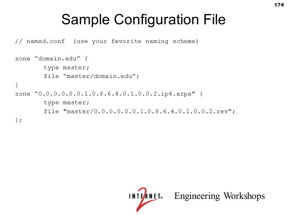 "Engineering Workshops 174 Sample Configuration File // named.conf (use your favorite naming scheme) zone ""domain.edu"" { type master; file ""master/doma"