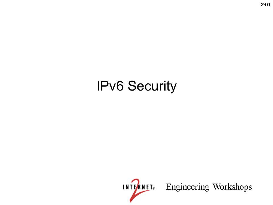 Engineering Workshops 210 IPv6 Security