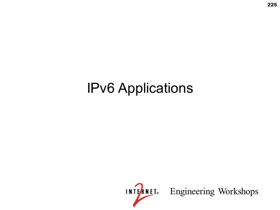 Engineering Workshops 225 IPv6 Applications