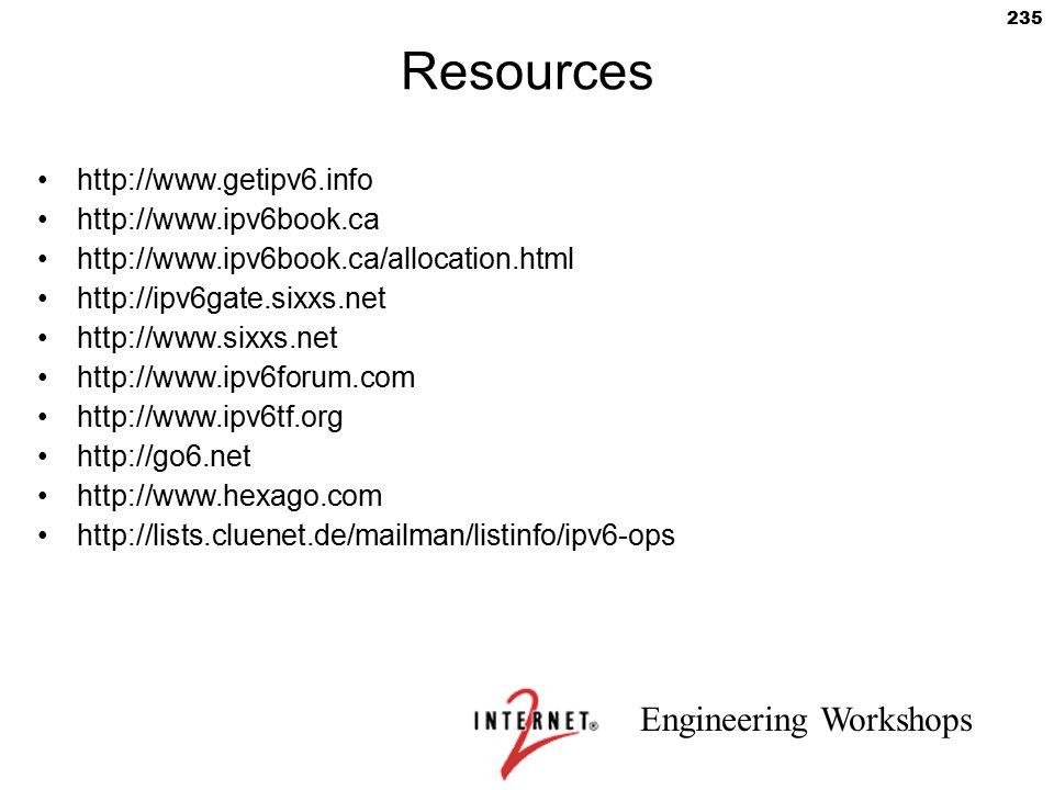 Engineering Workshops 235 Resources http://www.getipv6.info http://www.ipv6book.ca http://www.ipv6book.ca/allocation.html http://ipv6gate.sixxs.net ht