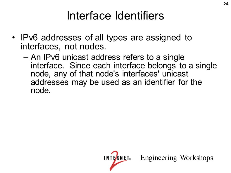 Engineering Workshops 24 Interface Identifiers IPv6 addresses of all types are assigned to interfaces, not nodes. –An IPv6 unicast address refers to a