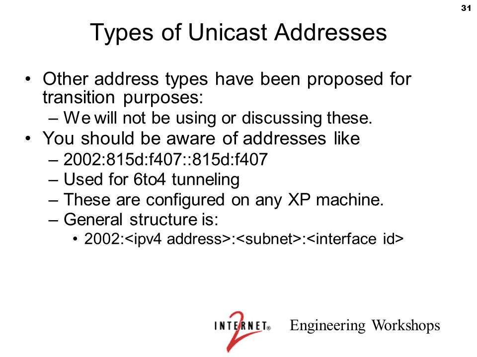Engineering Workshops 31 Types of Unicast Addresses Other address types have been proposed for transition purposes: –We will not be using or discussin