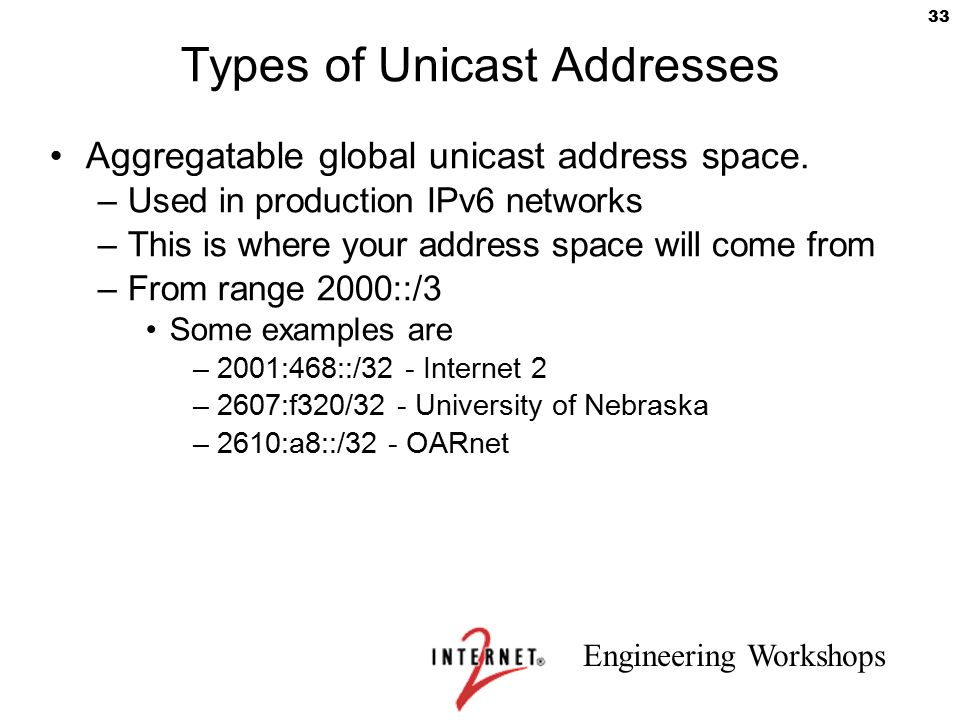 Engineering Workshops 33 Types of Unicast Addresses Aggregatable global unicast address space. –Used in production IPv6 networks –This is where your a