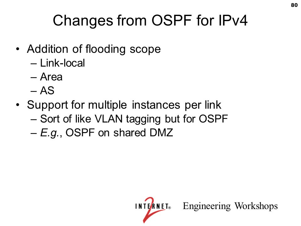 Engineering Workshops 80 Changes from OSPF for IPv4 Addition of flooding scope –Link-local –Area –AS Support for multiple instances per link –Sort of