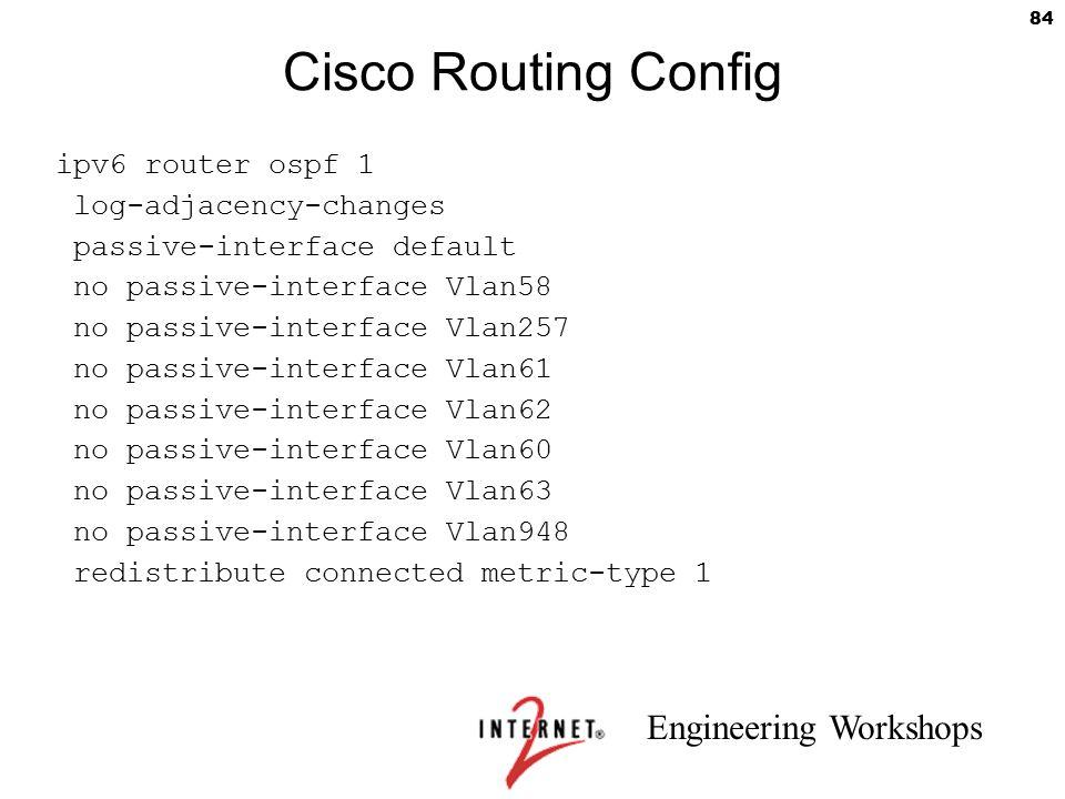Engineering Workshops 84 Cisco Routing Config ipv6 router ospf 1 log-adjacency-changes passive-interface default no passive-interface Vlan58 no passiv