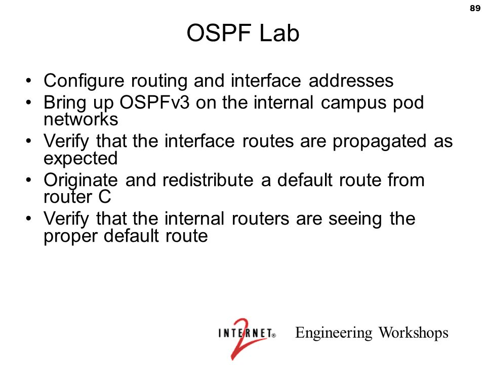Engineering Workshops 89 OSPF Lab Configure routing and interface addresses Bring up OSPFv3 on the internal campus pod networks Verify that the interf