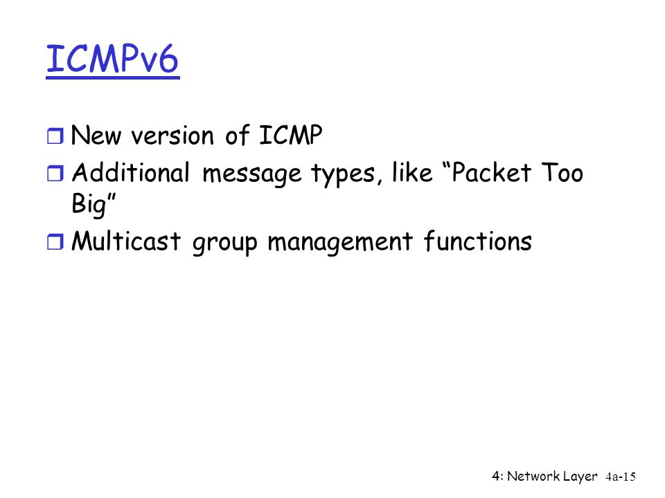 4: Network Layer4a-15 ICMPv6 r New version of ICMP r Additional message types, like Packet Too Big r Multicast group management functions