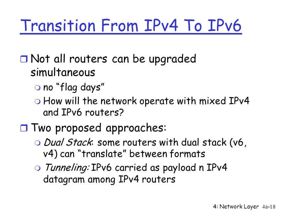 4: Network Layer4a-18 Transition From IPv4 To IPv6 r Not all routers can be upgraded simultaneous m no flag days m How will the network operate with mixed IPv4 and IPv6 routers.