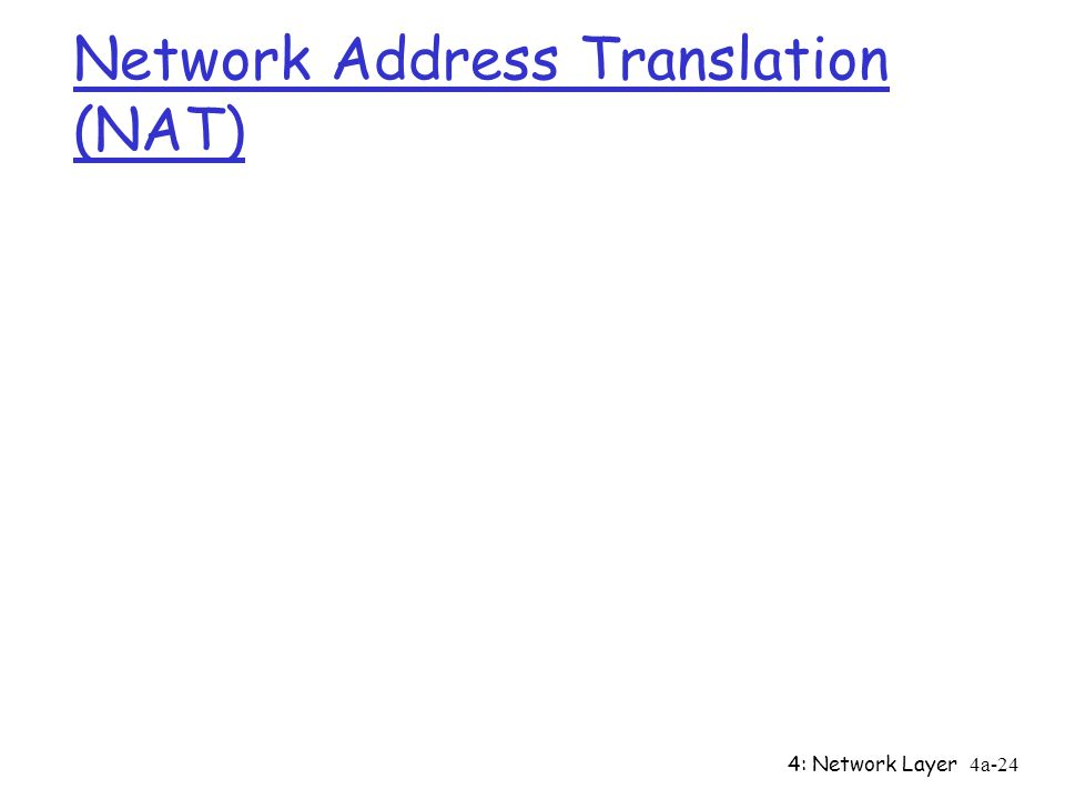 4: Network Layer4a-24 Network Address Translation (NAT)
