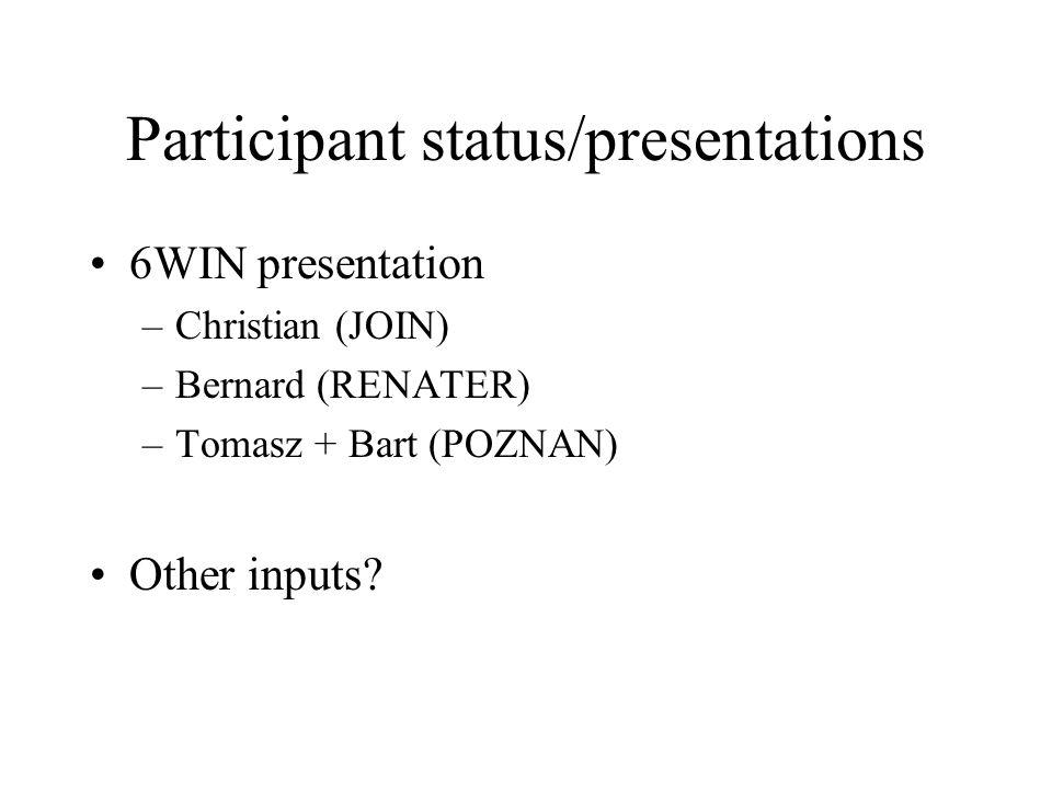 Participant status/presentations 6WIN presentation –Christian (JOIN) –Bernard (RENATER) –Tomasz + Bart (POZNAN) Other inputs