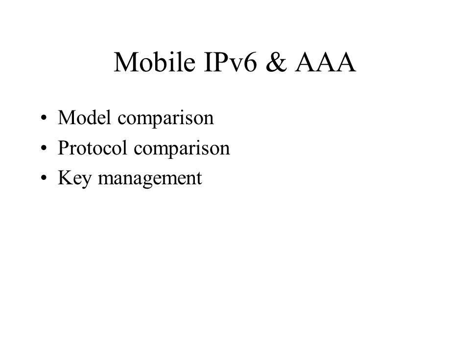 Mobile IPv6 & AAA Model comparison Protocol comparison Key management