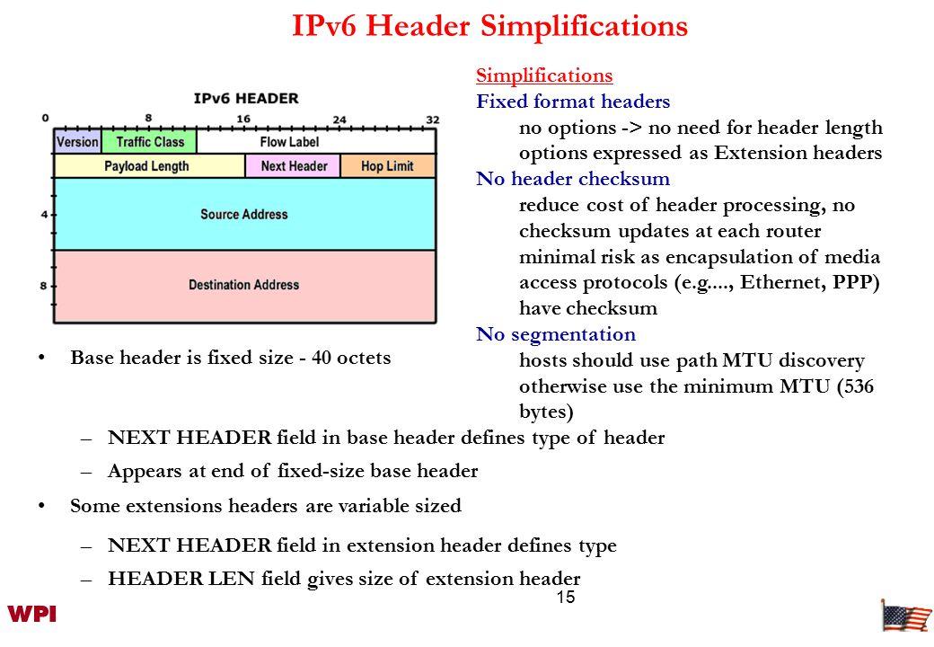 16 Extension Header IPv6 Header Next Header = TCP TCP header + data Routing Header Next Header = TCP TCP header + data IPv6 Header Next Header = Routing IPv6 Header Next Header = Routing Routing Header Next Header = Fragment Fragment Header Next Header = TCP Fragment of TCP header + data Store optional internet-layer information [Placed between IPv6 header and upper-layer header] The Next Header field points to an extension Header IPv6Hop-by-hopTCPDestinationRoutingFragmentAuthenticate.ESP AH IPv6 header Hop-by-hop options header Destination Options HOME ADDRESS OPTION Routing header Fragment header Upper Layer Header ESP Header Destination Options MN CN