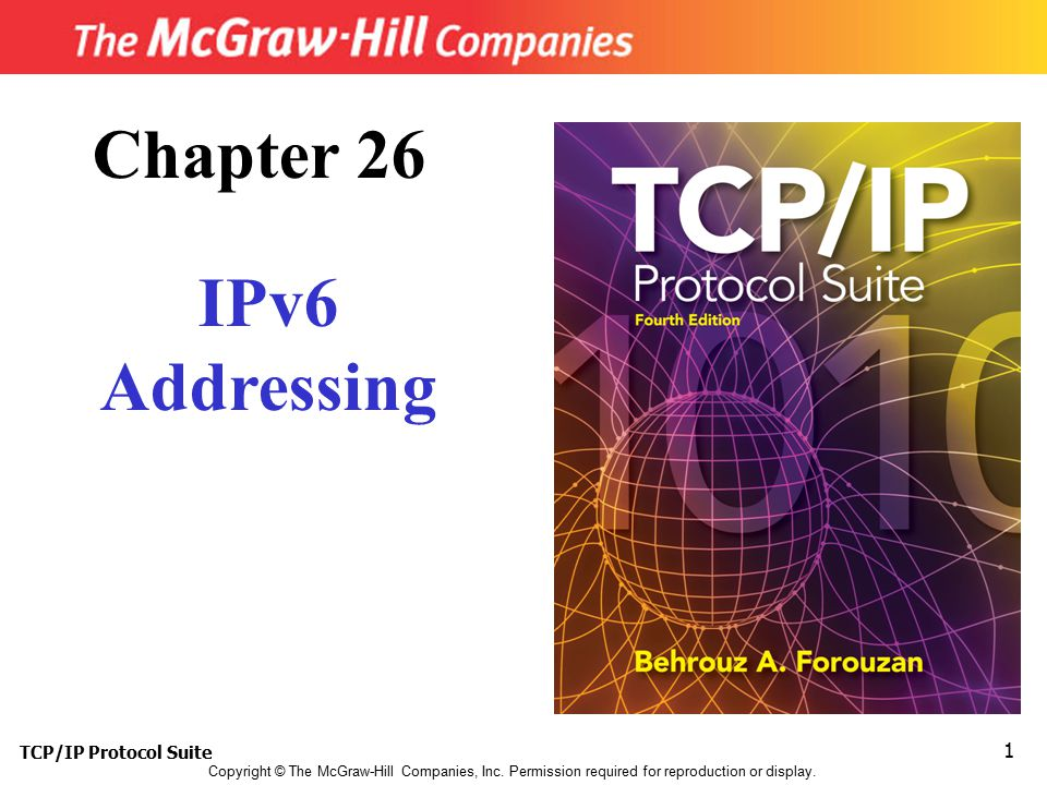 TCP/IP Protocol Suite 42 An organization is assigned the block 2000:1456:2474/48.