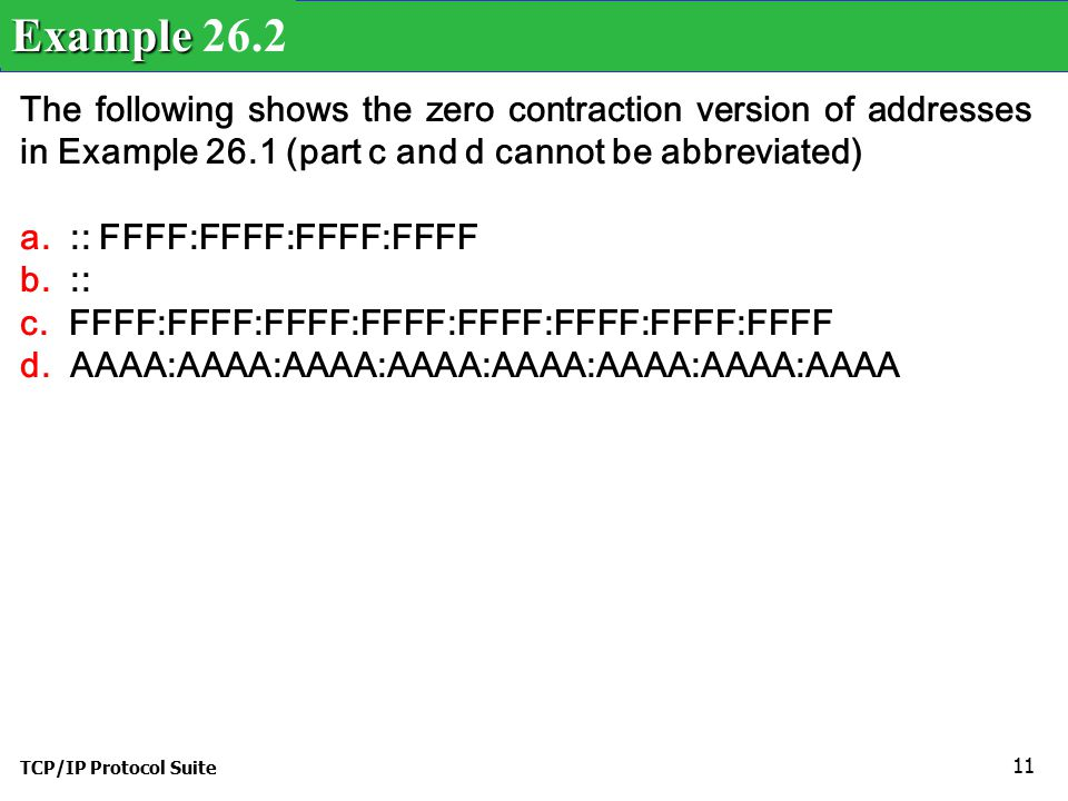 TCP/IP Protocol Suite 11 The following shows the zero contraction version of addresses in Example 26.1 (part c and d cannot be abbreviated) a.