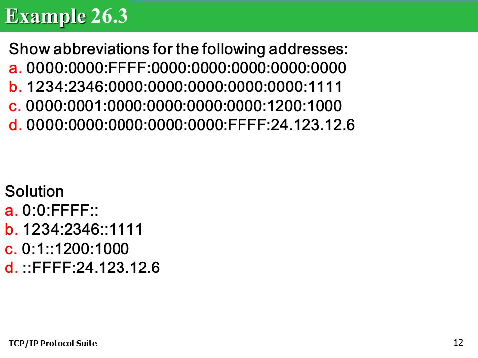 TCP/IP Protocol Suite 12 Show abbreviations for the following addresses: a.