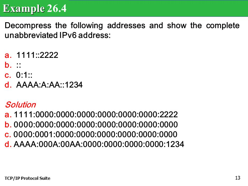 TCP/IP Protocol Suite 13 Decompress the following addresses and show the complete unabbreviated IPv6 address: a.