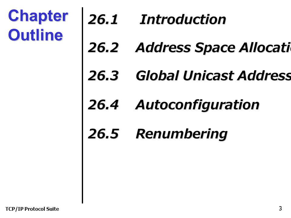 TCP/IP Protocol Suite 4 26-1 INTRODUCTION An IPv6 address is 128 bits or 16 bytes (octet) long as shown in Figure 26.1.