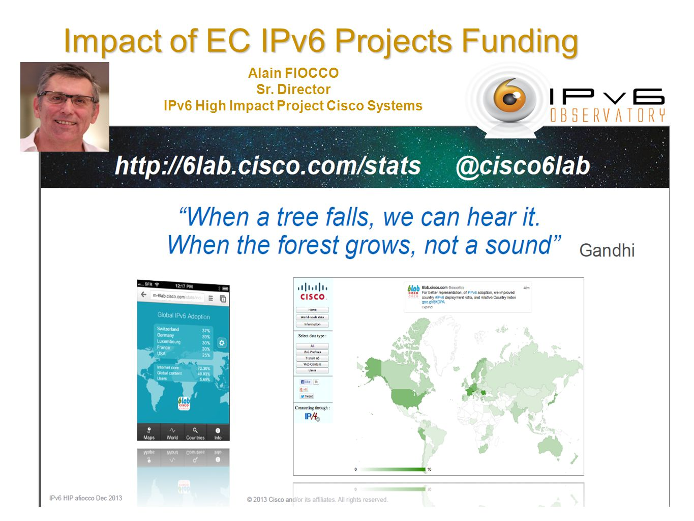 Impact of EC IPv6 Projects Funding Alain FIOCCO Sr. Director IPv6 High Impact Project Cisco Systems