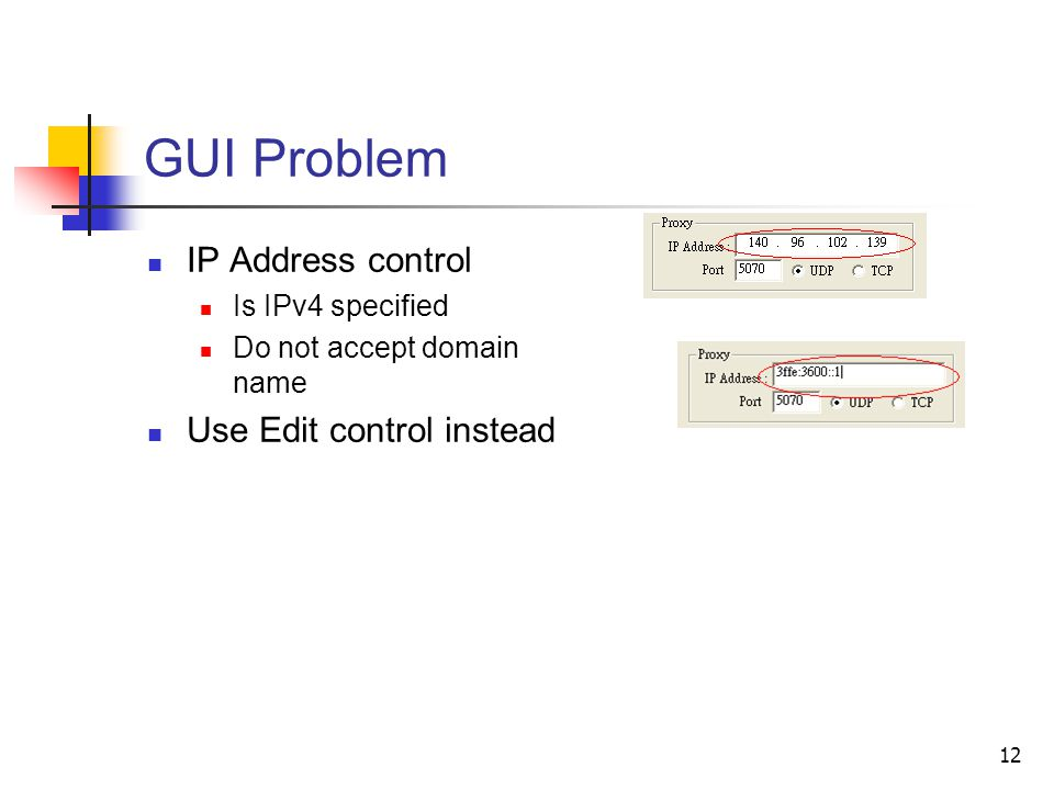 12 GUI Problem IP Address control Is IPv4 specified Do not accept domain name Use Edit control instead