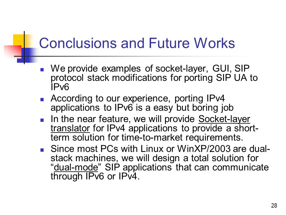 28 Conclusions and Future Works We provide examples of socket-layer, GUI, SIP protocol stack modifications for porting SIP UA to IPv6 According to our experience, porting IPv4 applications to IPv6 is a easy but boring job In the near feature, we will provide Socket-layer translator for IPv4 applications to provide a short- term solution for time-to-market requirements.