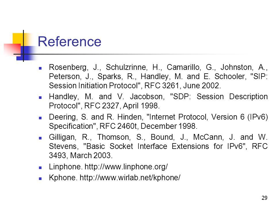 29 Reference Rosenberg, J., Schulzrinne, H., Camarillo, G., Johnston, A., Peterson, J., Sparks, R., Handley, M.