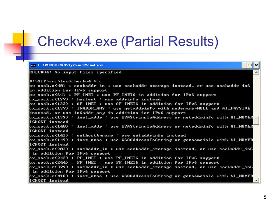 8 Checkv4.exe (Partial Results)