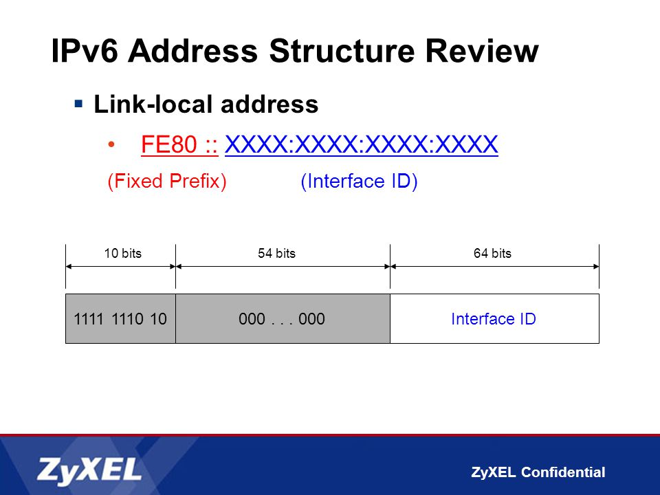 ZyXEL Confidential IPv6 Address Structure Review  Link-local address FE80 :: XXXX:XXXX:XXXX:XXXX (Fixed Prefix) (Interface ID) 1111 1110 10Interface ID 10 bits64 bits 000...