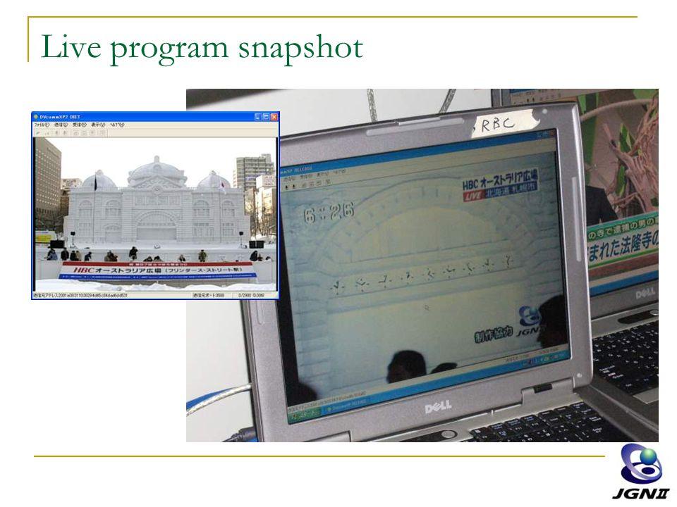 Live program snapshot