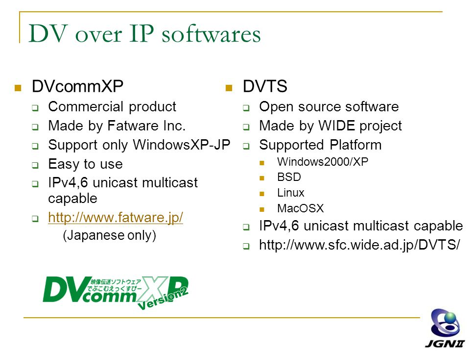DV over IP softwares DVcommXP  Commercial product  Made by Fatware Inc.  Support only WindowsXP-JP  Easy to use  IPv4,6 unicast multicast capable