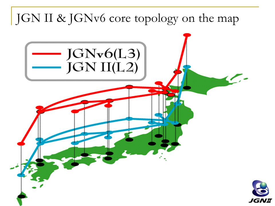 JGN II & JGNv6 core topology on the map