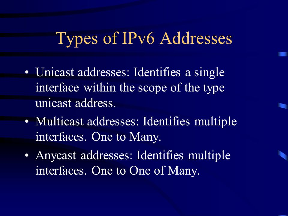 Types of IPv6 Addresses Unicast addresses: Identifies a single interface within the scope of the type unicast address.