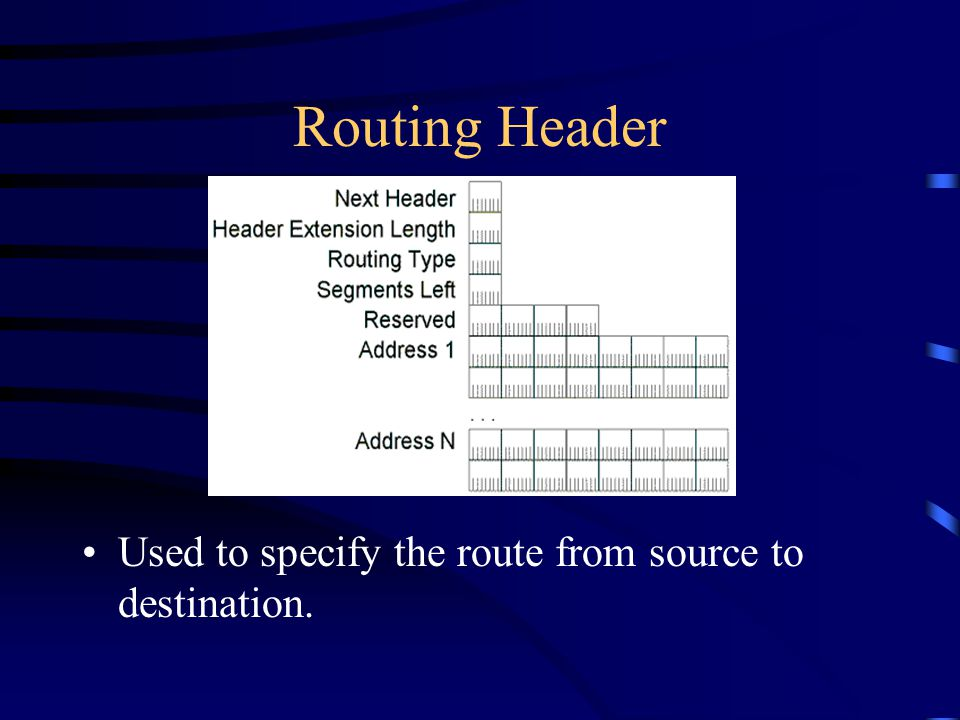 Routing Header Used to specify the route from source to destination.